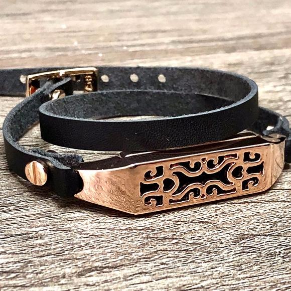 Black Leather Bracelet For Fitbit Flex 2 Tracker Handmade Double Wrap Fitbit Flex 2 Band Gold Metal Jewelry Holder Adjustable Size Slim Strap Fitbit Flex 2 Women Bracelet